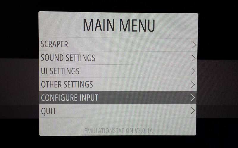 RetroPie Menu RetroPie Main Menu Configure Input